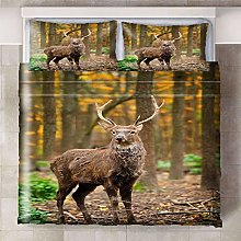 Duvet Cover Set Brown green jungle animal deer