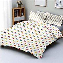 Duvet Cover Set,Colorful Polka Dots Round Circular