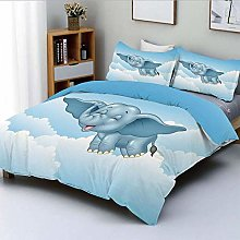 Duvet Cover Set,Cute Baby Flying Elephant Clouds