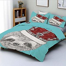 Duvet Cover Set,Cute Hand Drawn Animal with