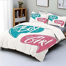 Duvet Cover Set,Hand Drawn Style Sketch Boy and