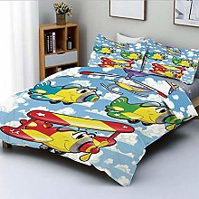 Duvet Cover Set,Kids Cute Airplanes and