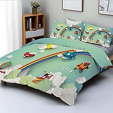 Duvet Cover Set,Plane Hot Air Balloon Helicopter