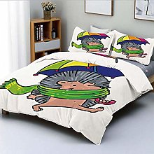 Duvet Cover Set,Smiling Animal with Spikes and