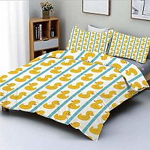 Duvet Cover Set,Yellow Duckies with Blue Stripes