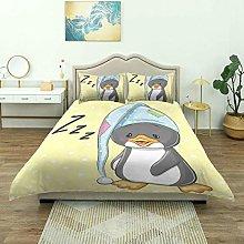 Duvet Cover,Sleepy Baby Penguin Hood Ready to Bed