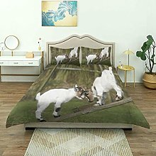 Duvet Cover,Two Cute Little Baby Goats On Bench