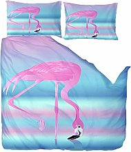 Duvet Covers King Size,Animal Pink Flamingo With 2