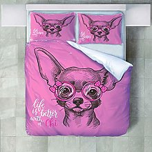 Duvet Covers King Size,Pink Animal Dog With 2