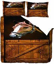 Duvet Covers King Size,Wooden Door Animal Horse