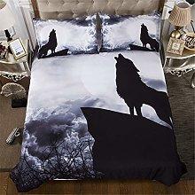 Duvet Quilt Cover & Pillowcase Animal 3D Wolf