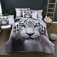 Duvet Quilt Cover & Pillowcase White & Black 3D