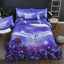 Duvet Quilt Cover & Pillowcase White & Blue 3D