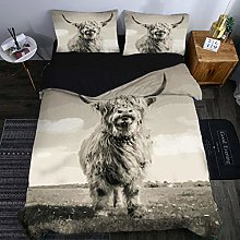 Duvet Sets 3D Animal Gray Highland Cow/220X230cm