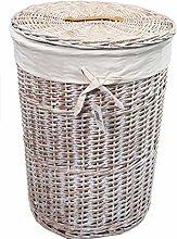 dvier Laundry Basket Wicker White L