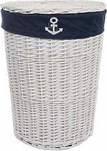 dvier Laundry Basket Wicker White Round Marine