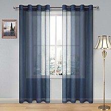 DWCN Navy Faux Linen Sheer Curtains - Grommet
