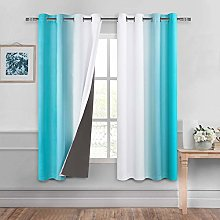 DWCN Ombre 100% Blackout Curtains for Bedroom –