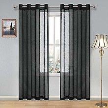 DWCN Sheer Curtains Black Grommet Window Curtain