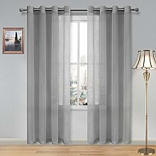 DWCN Sheer Curtains Faux Linen Grommet Curtain for
