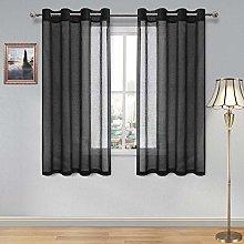 DWCN Sheer Curtains Faux Linen Grommet Window