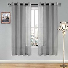 DWCN Sheer Curtains for Living Room Grey Faux