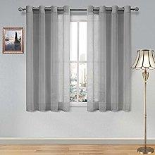 DWCN Sheer Curtains Grey Faux Linen Grommet
