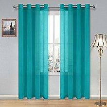 DWCN Turquoise Faux Linen Sheer Curtains - Grommet