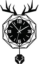 DXTY Black Pendulum Wall Clock with Fawn Sticker