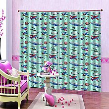 dxycfa 3D Blackout Curtains Color Plane Waterproof