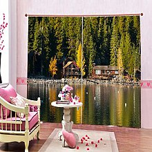 dxycfa 3D Blackout Curtains Riverside Cabin Home