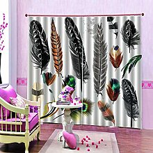 dxycfa 3D Stereoscopic Curtains Colored Feathers