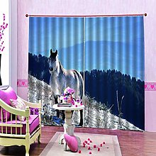dxycfa Blackout Curtains 3D Printing Animal Horse