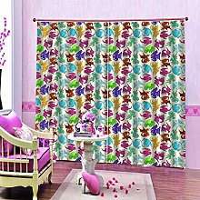 dxycfa Polyester Blackout 3D Window Curtains Bells