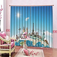 dxycfa Polyester Blackout 3D Window Curtains Earth