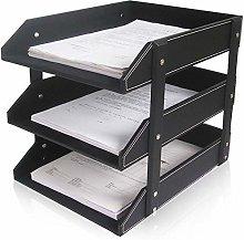 DYB File Racks, File Holder Three-Layer Leather
