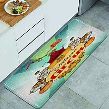 DYCBNESS Kitchen Rug,Magic traveling circus tent