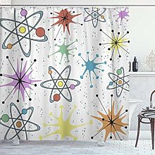 DYCBNESS Shower Curtain,Atoms Retro Atomic