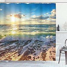 DYCBNESS Shower Curtain,Beach Scene Sunset Sunrise