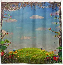 DYCBNESS Shower Curtain,Beautiful Woodland Scene