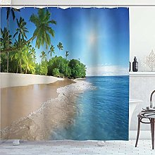 DYCBNESS Shower Curtain,Blue Ocean Tropical Palm