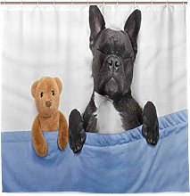 DYCBNESS Shower Curtain,French Bulldog Sleeping