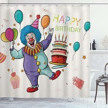 DYCBNESS Shower Curtain,Happy Clown Birthday Party