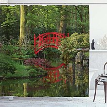 DYCBNESS Shower Curtain,Lake Red Chinese Bridge in
