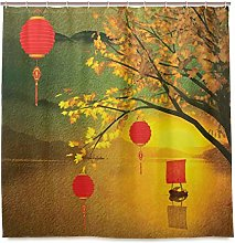 DYCBNESS Shower Curtain,Lantern Traditional