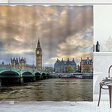 DYCBNESS Shower Curtain,London Extensive Cityscape