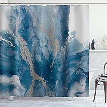 DYCBNESS Shower Curtain,Navy Marble Art,Waterproof