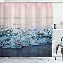 DYCBNESS Shower Curtain,Ocean Wave Beach Seaside
