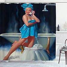 DYCBNESS Shower Curtain,Pin-Up Girl Sexy Girl