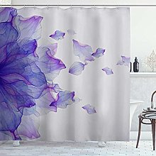 DYCBNESS Shower Curtain,Purple Flower Modern